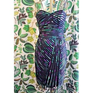 Cache Piping Striped Evening Cocktail Dress
